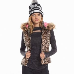 Juicy Couture Leopard Fur Lined Hood Puffer Vest